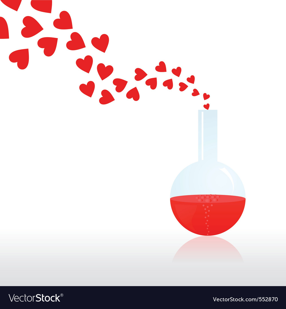 From a chemical test tube hearts evaporate a vecto vector