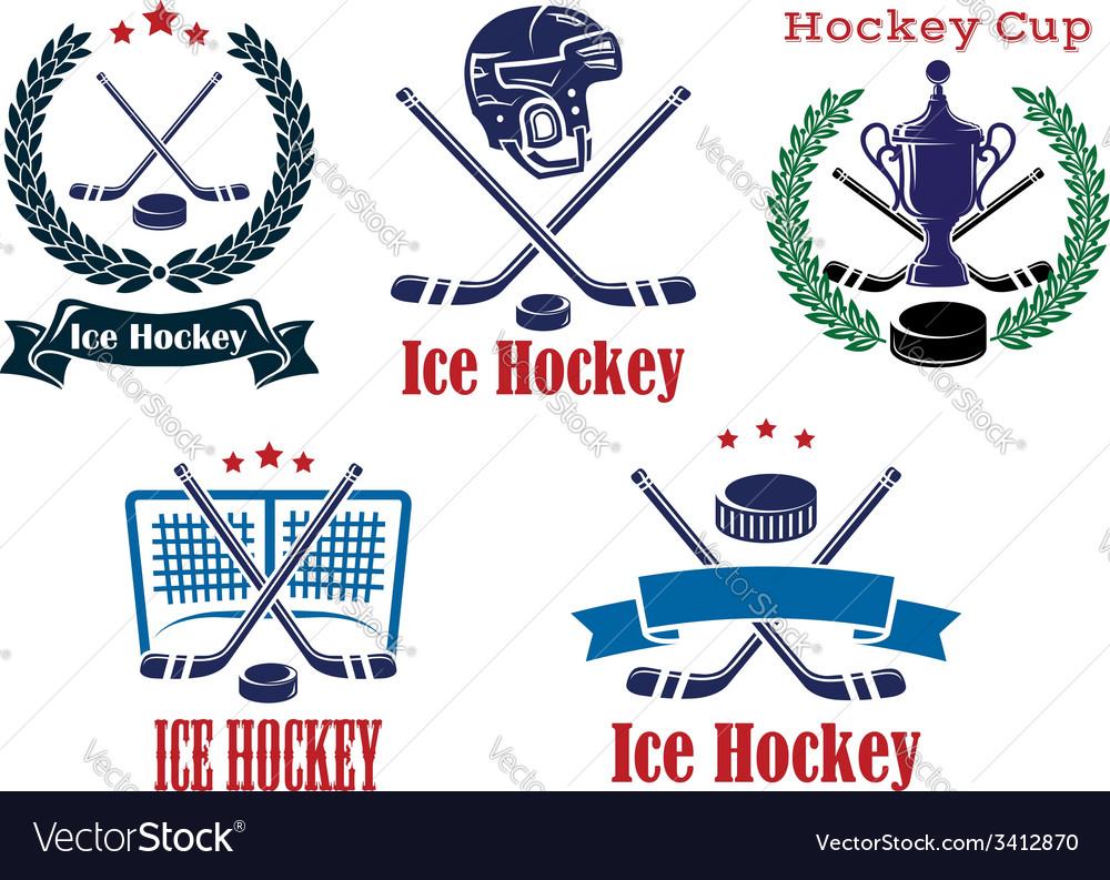 Ice hockey sporting heraldic emblems and symbols vector