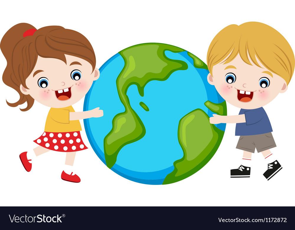 Children hug earth vector