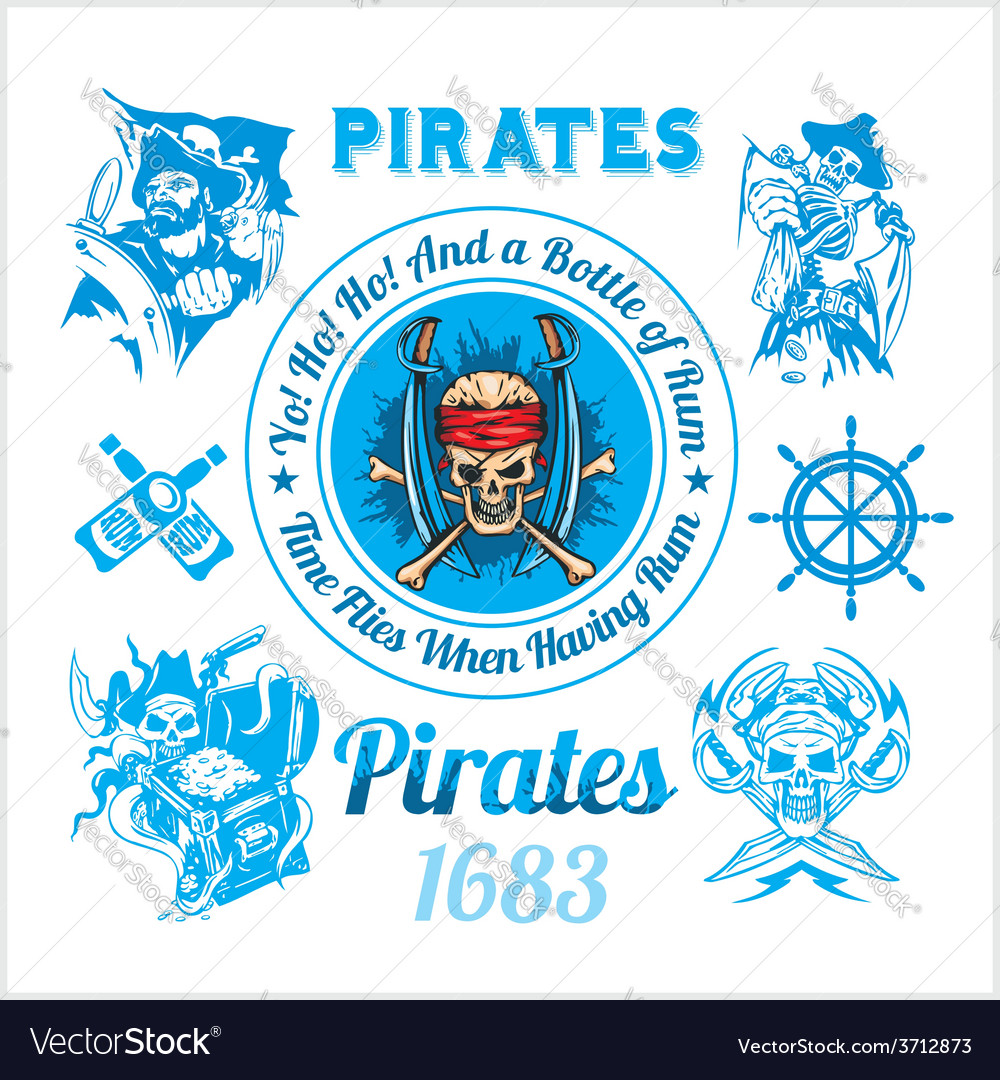 Pirate themed design elements - set vector