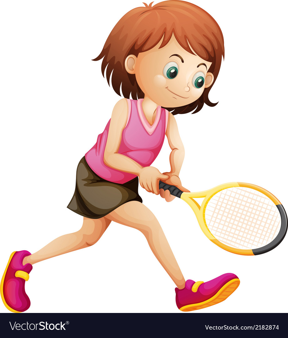 A cute little girl playing tennis vector