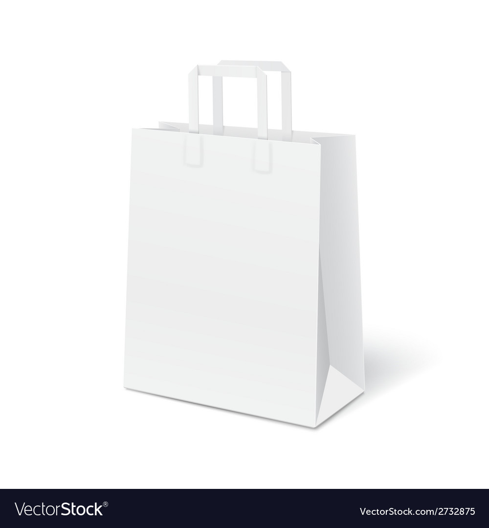 White blank paper bag vector