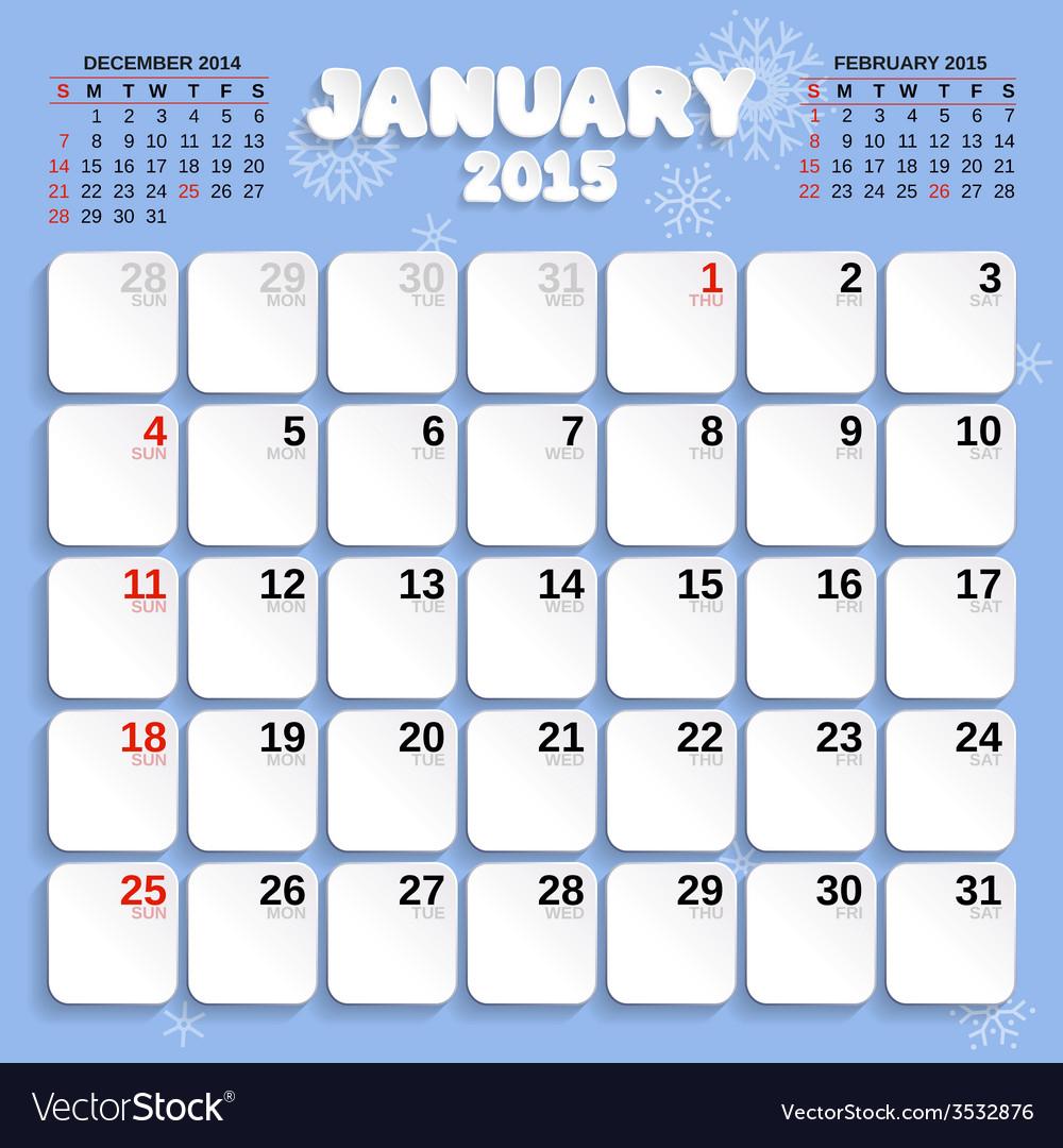 January month calendar 2015 vector