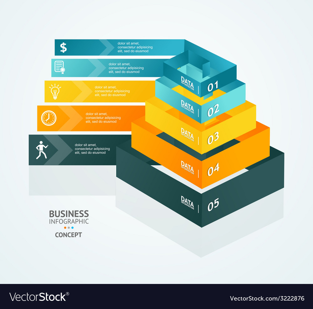 Pyramid chart for infographics design vector