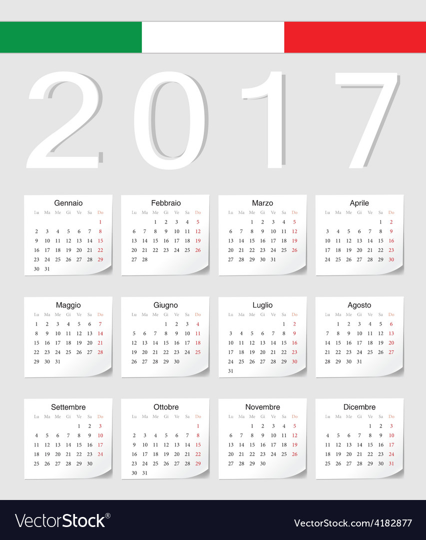 Italian 2017 calendar with shadow angles vector