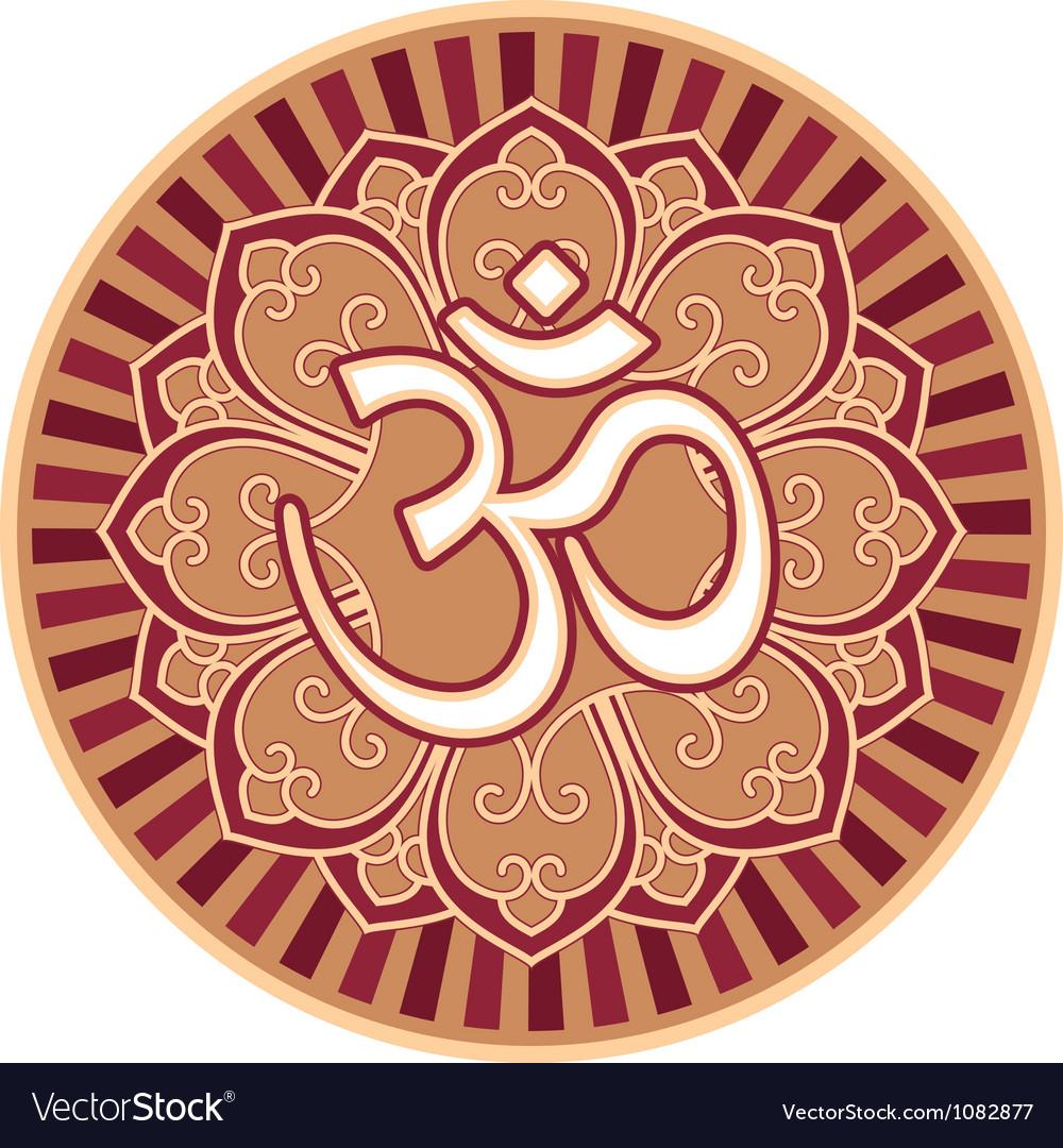 Om - aum - symbol in flower rosette vector