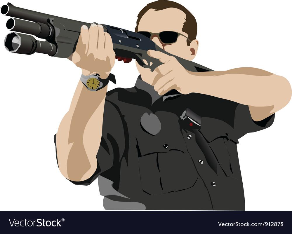 Policeman with gun vector