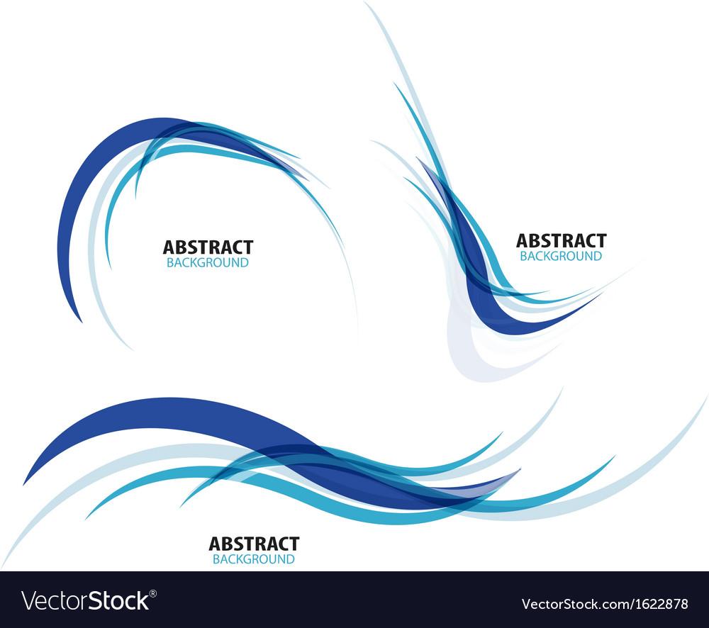Set of flowing blue wave lines vector