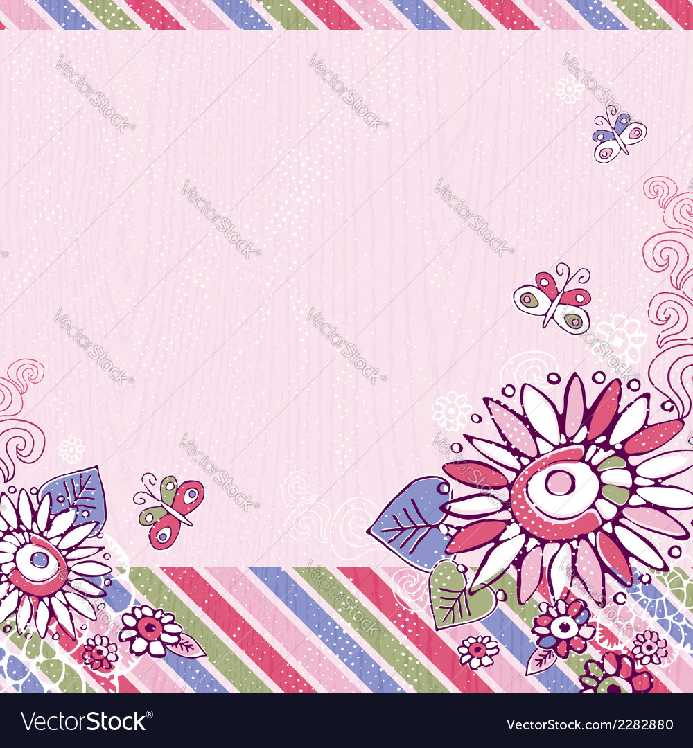 Hand draw flowers and butterfly on pink background vector