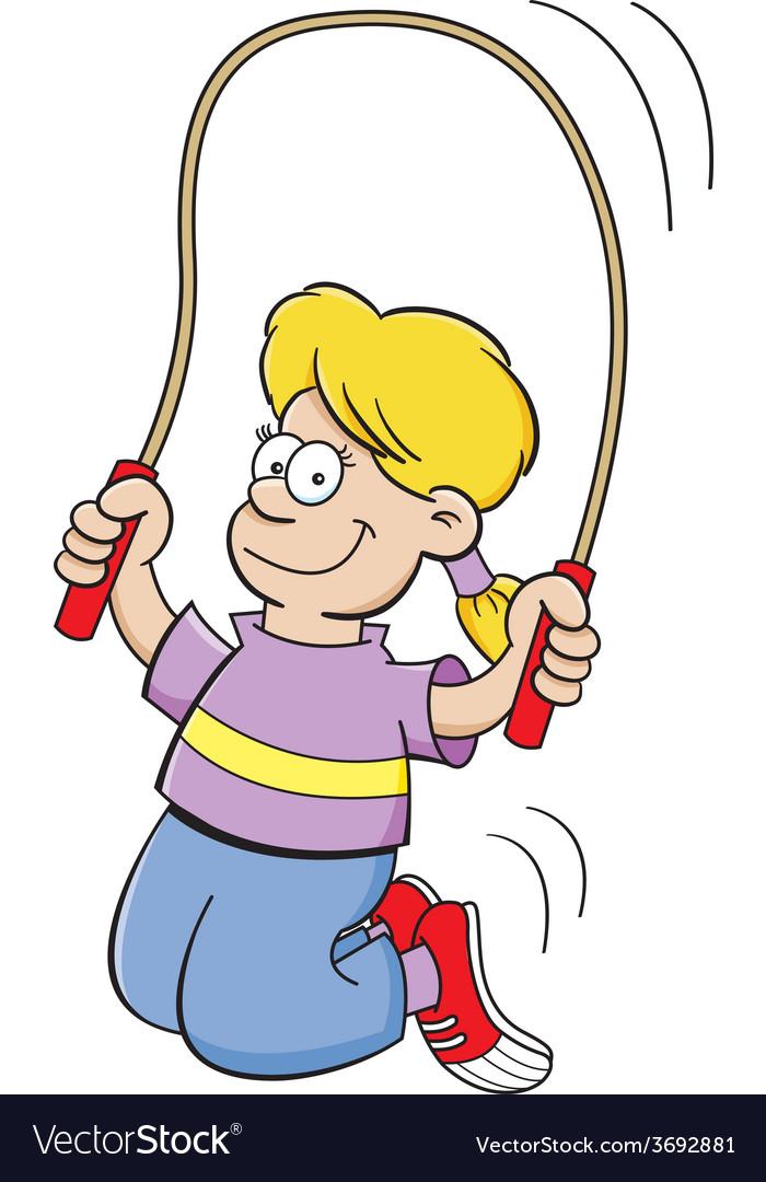 Cartoon girl jumping rope vector