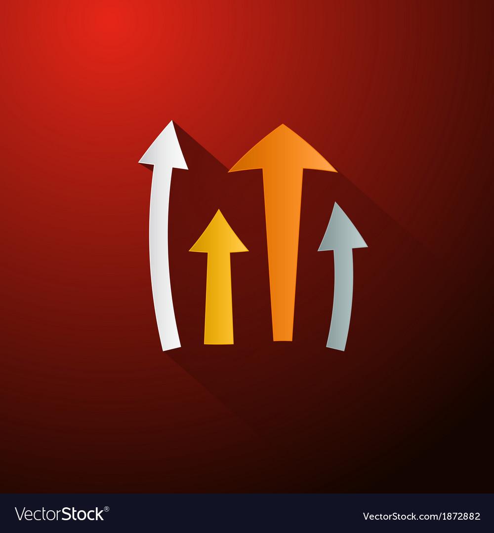 Retro arrows on dark red background vector