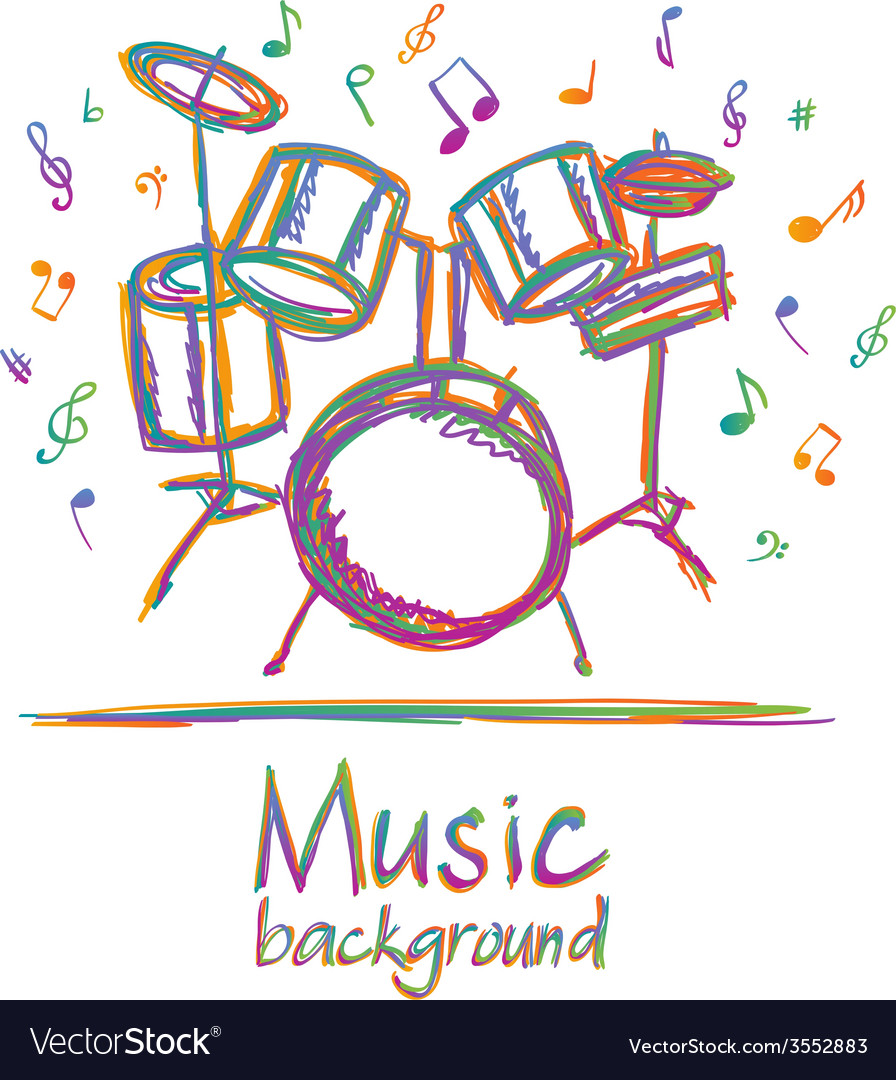 Drums music background with notes vector