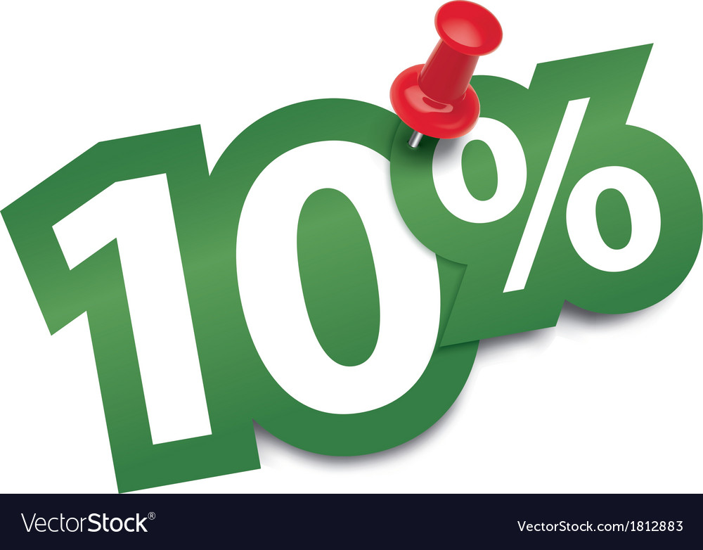 Ten percent sticker vector