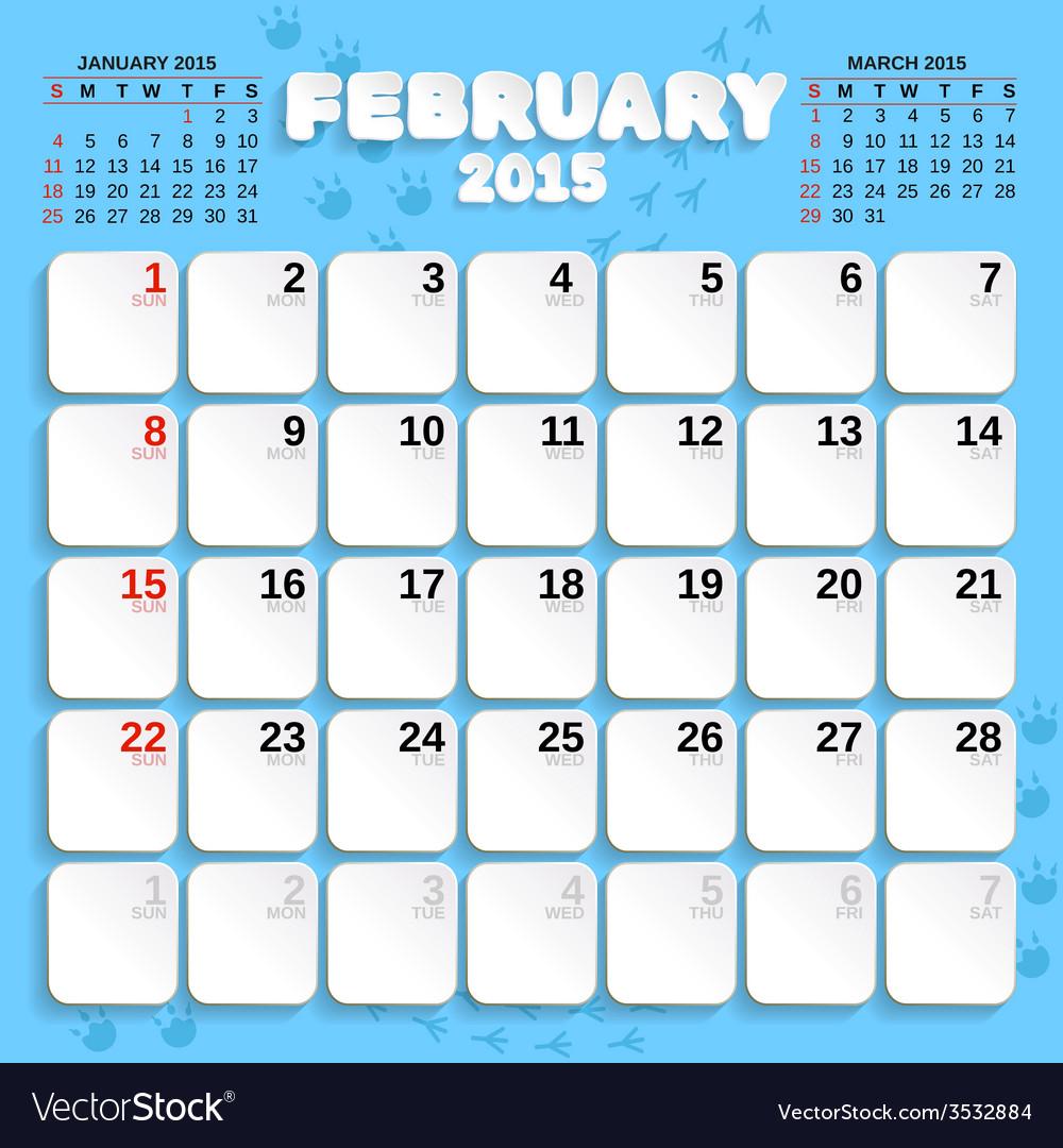 February month calendar 2015 vector