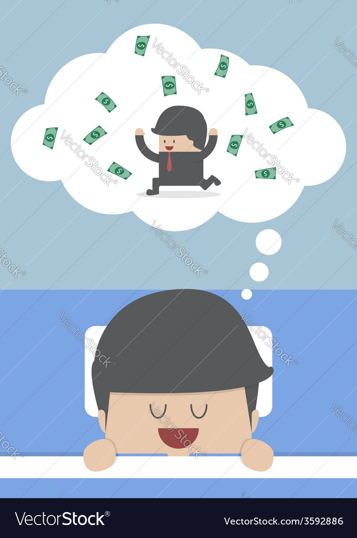 Businessman sleeping and dreaming about success vector
