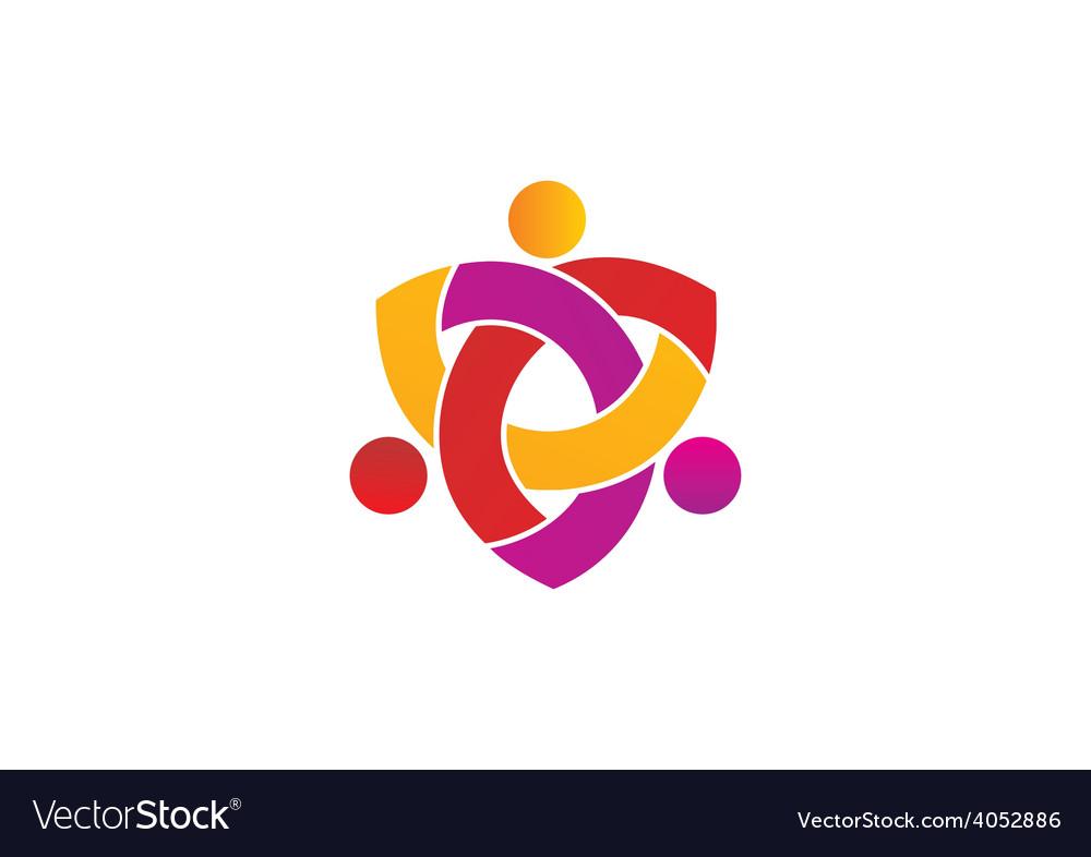 Circle people teamwork group logo vector