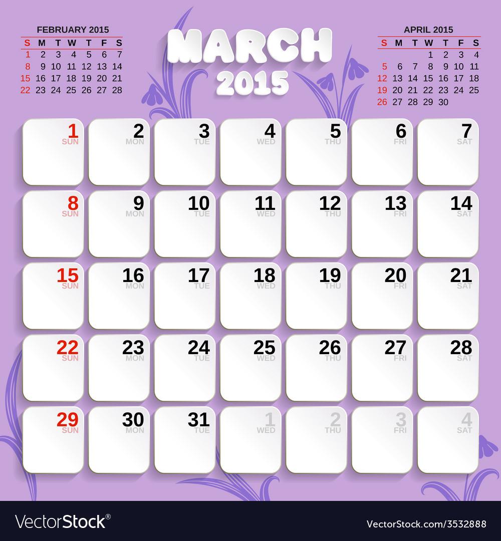 March month calendar 2015 vector