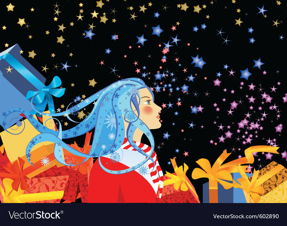 Girl watching fireworks vector