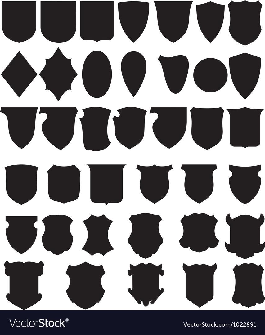 Black shields set vector