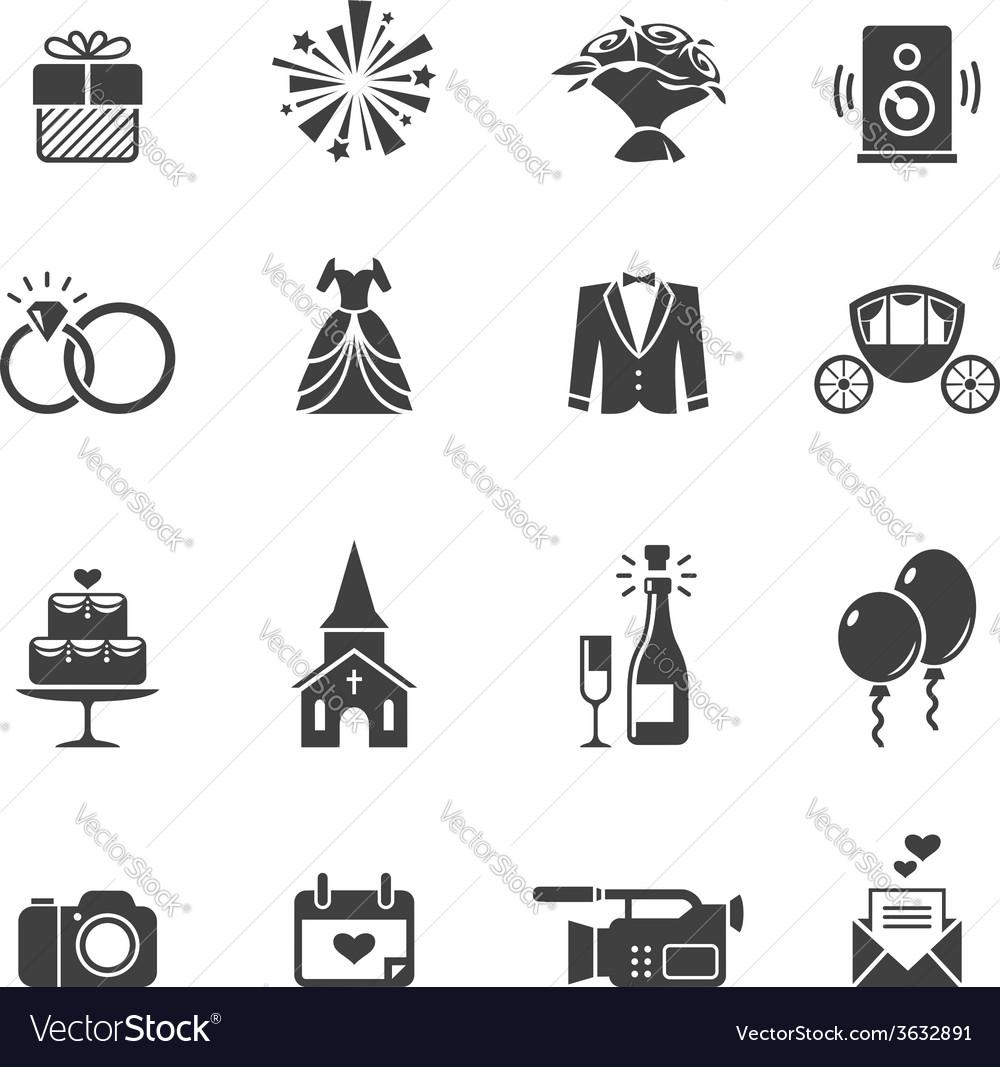 Black wedding icons vector