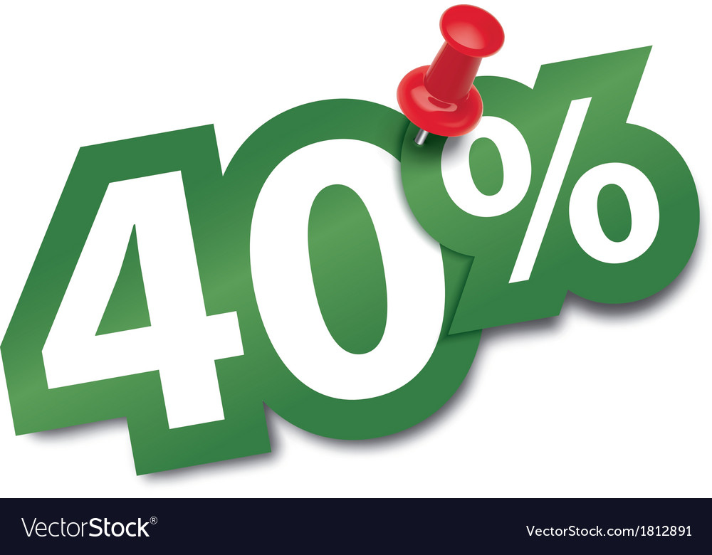 Forty percent sticker vector