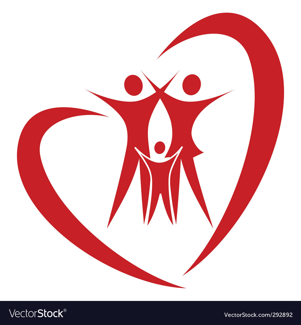 Heart family vector