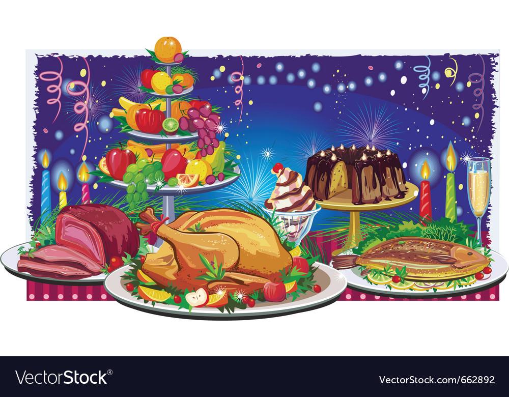 Holiday dinner vector