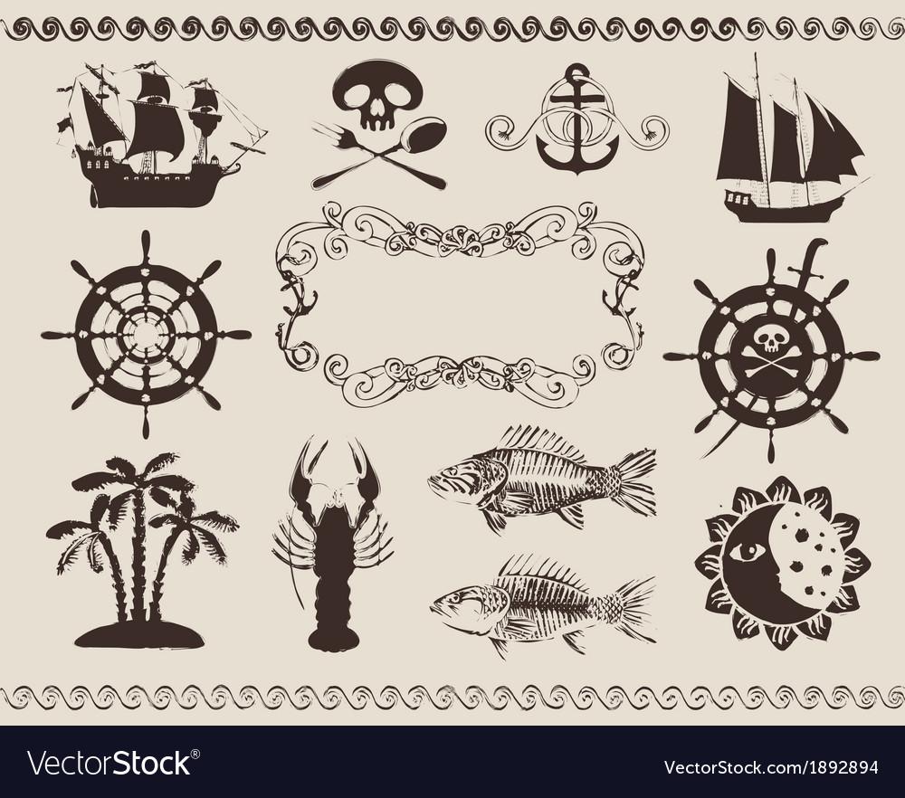Marine theme vector