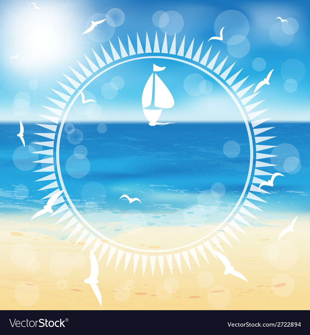 Yacht in the open sea in the circle frame vector