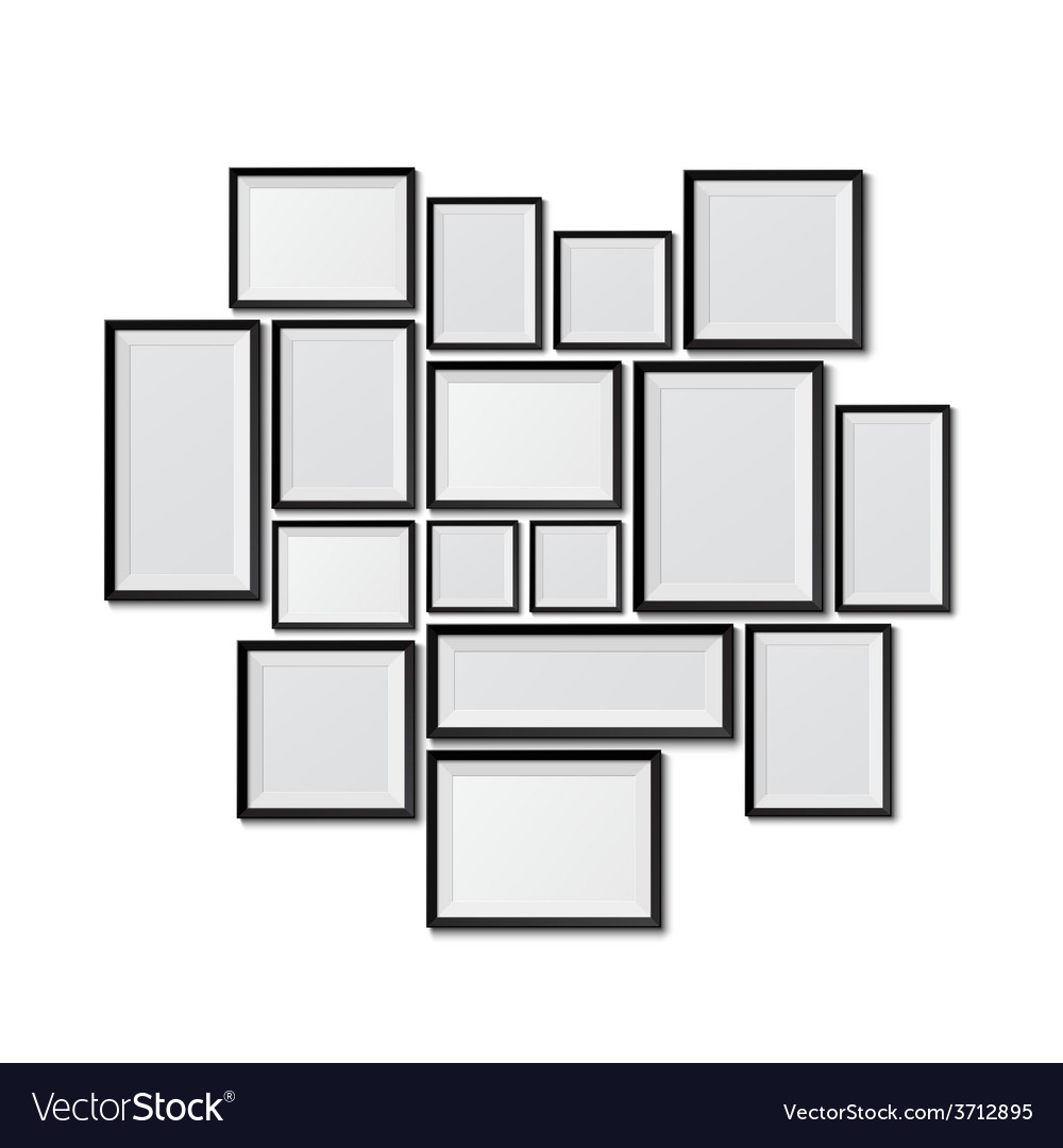 Big set of picture frames isolated on white vector