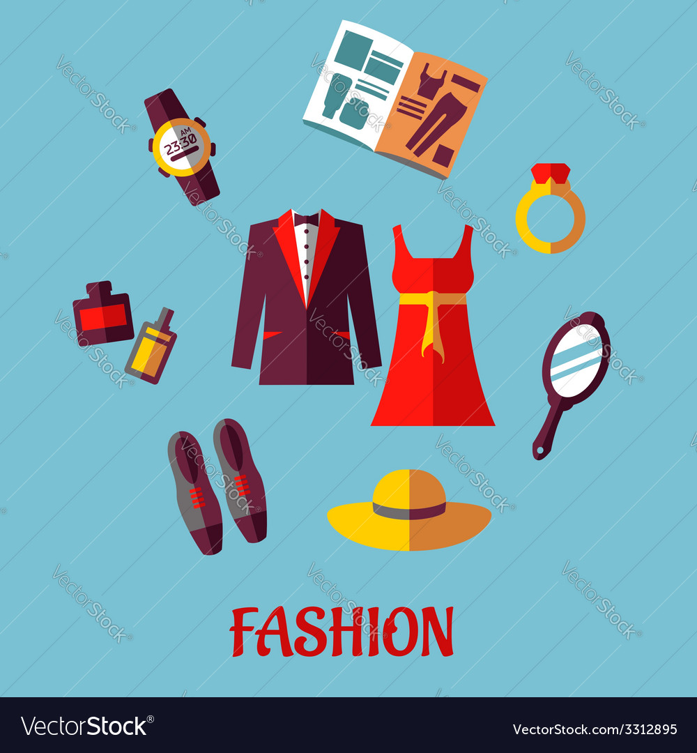 Flat fashion icons vector