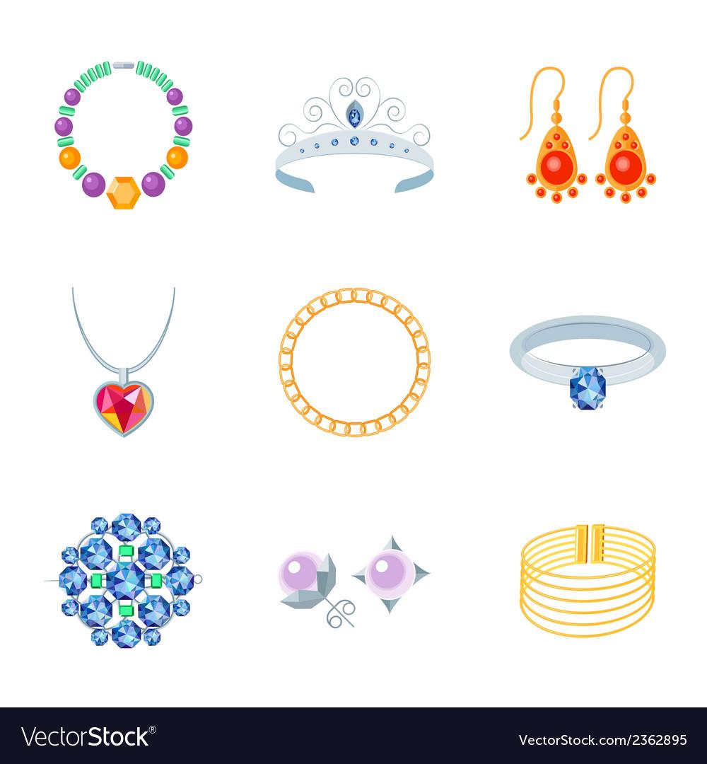 Jewelry icons flat vector