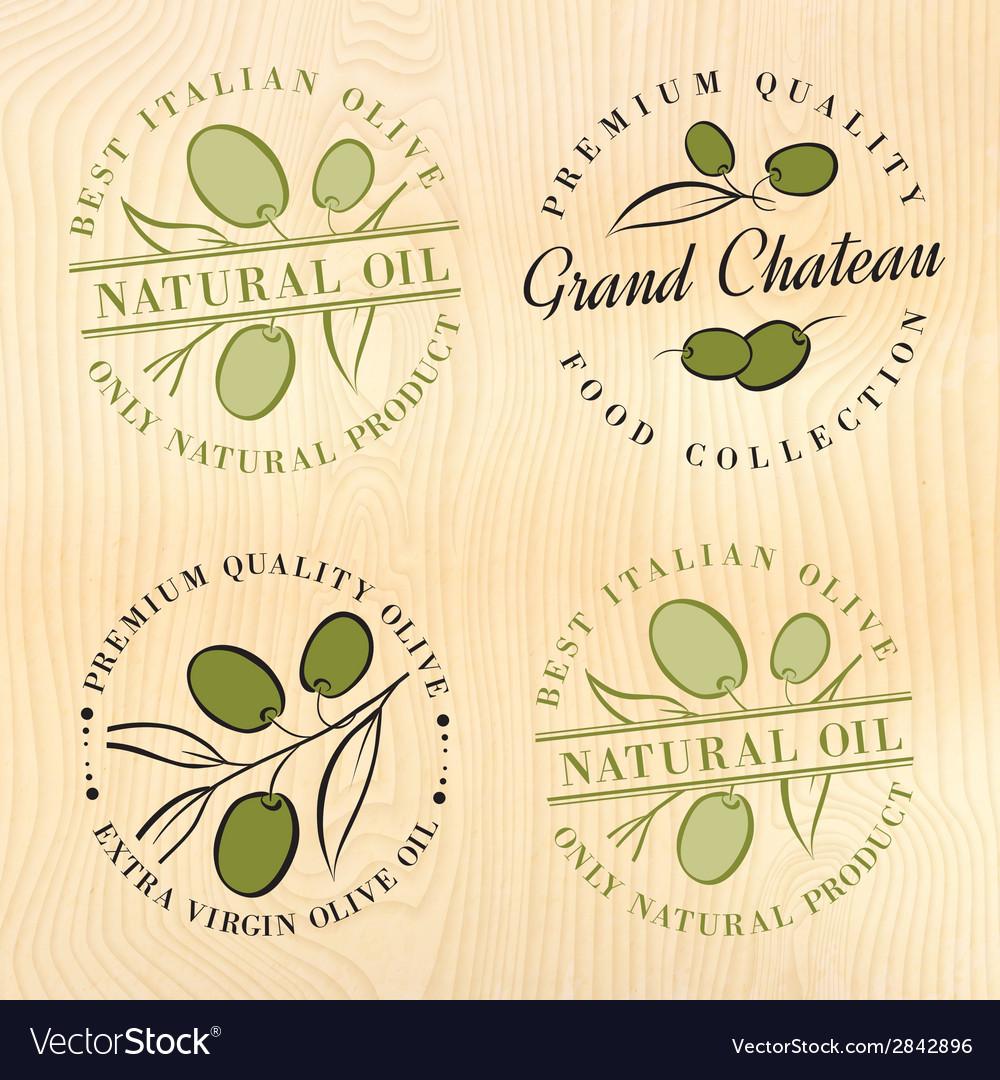 Natural olive oil labels vector