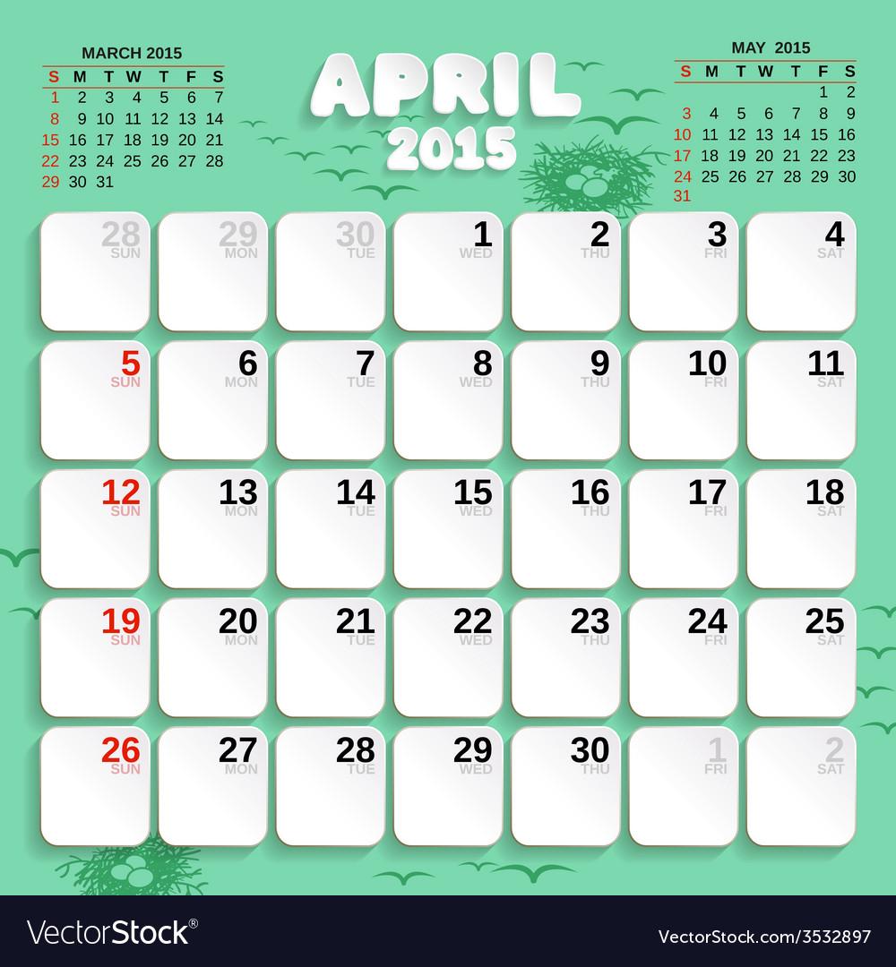 April month calendar 2015 vector