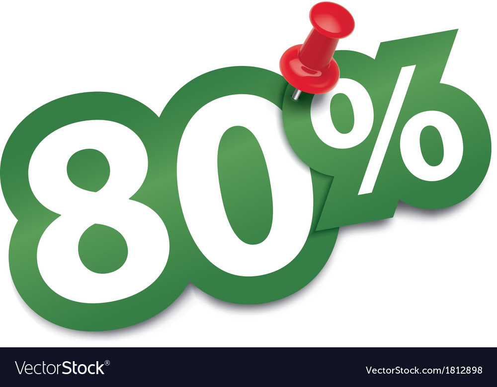 Eighty percent sticker vector