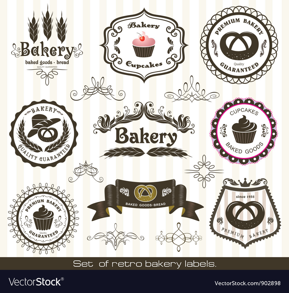 Set of vintage retro bakery labels vector