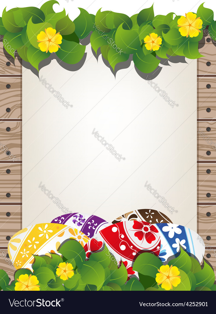 Easter eggs on the wooden fence background vector
