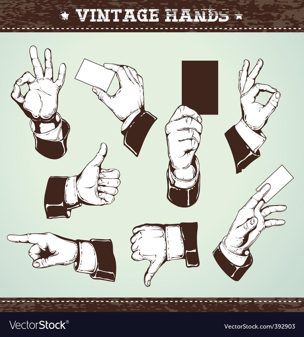 Set of vintage hands vector