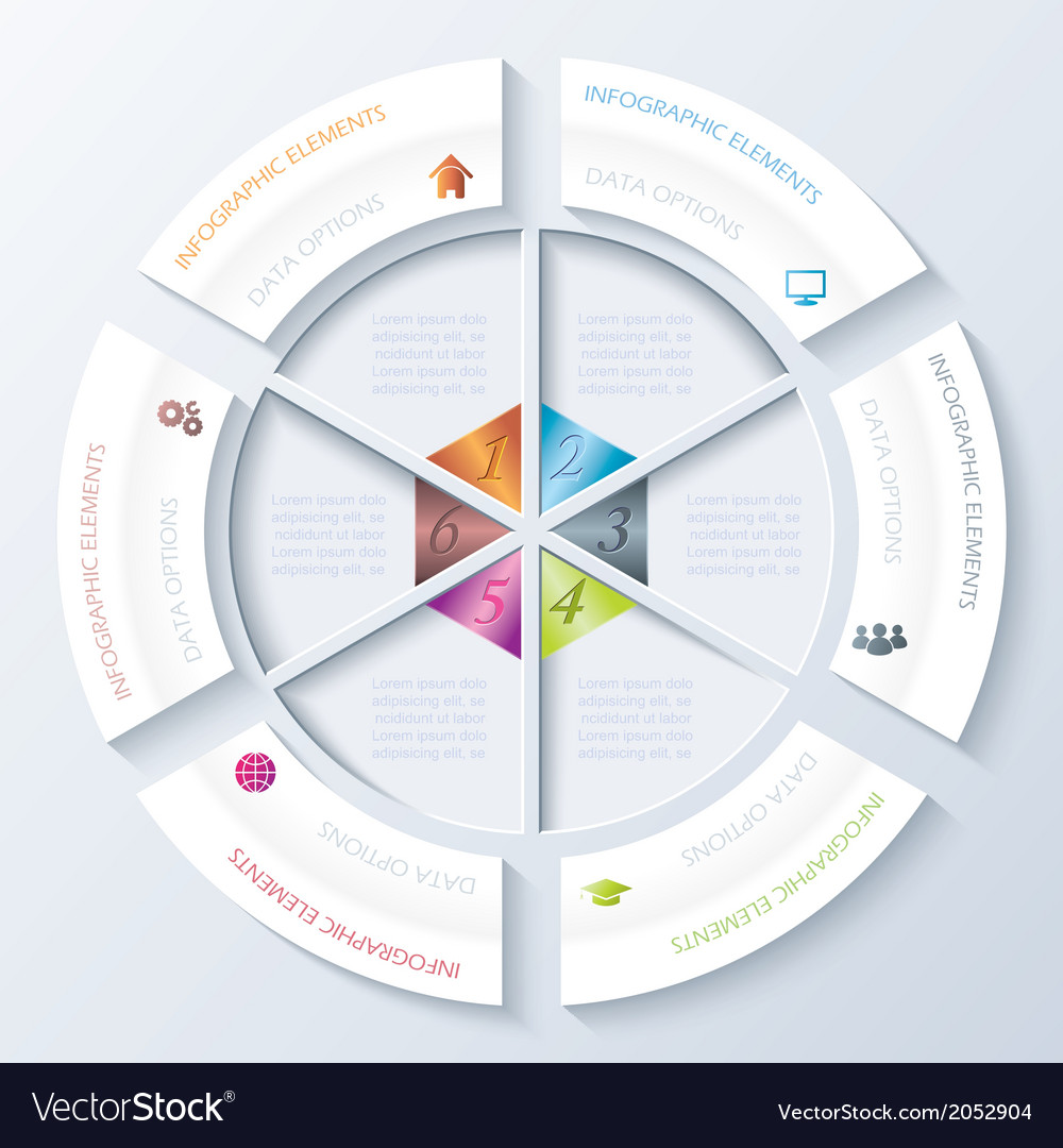 Abstract infographic design with circle and six se vector