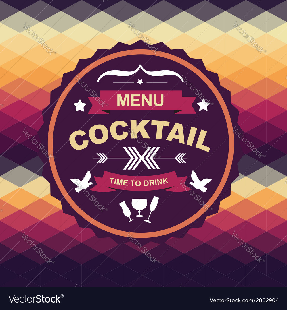 Cocktail bar menu template design vector