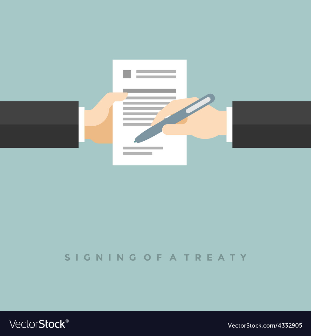 Business man hands holding contract and pen flat vector