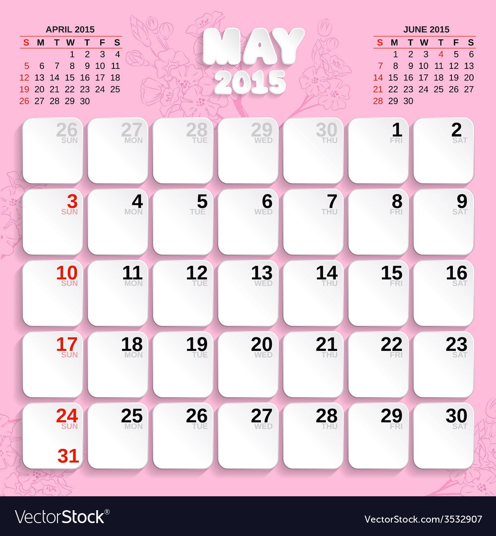 May month calendar 2015 vector