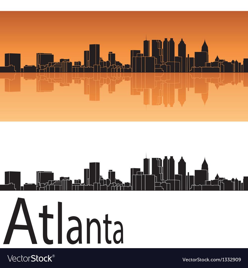 Atlanta skyline in orange background vector