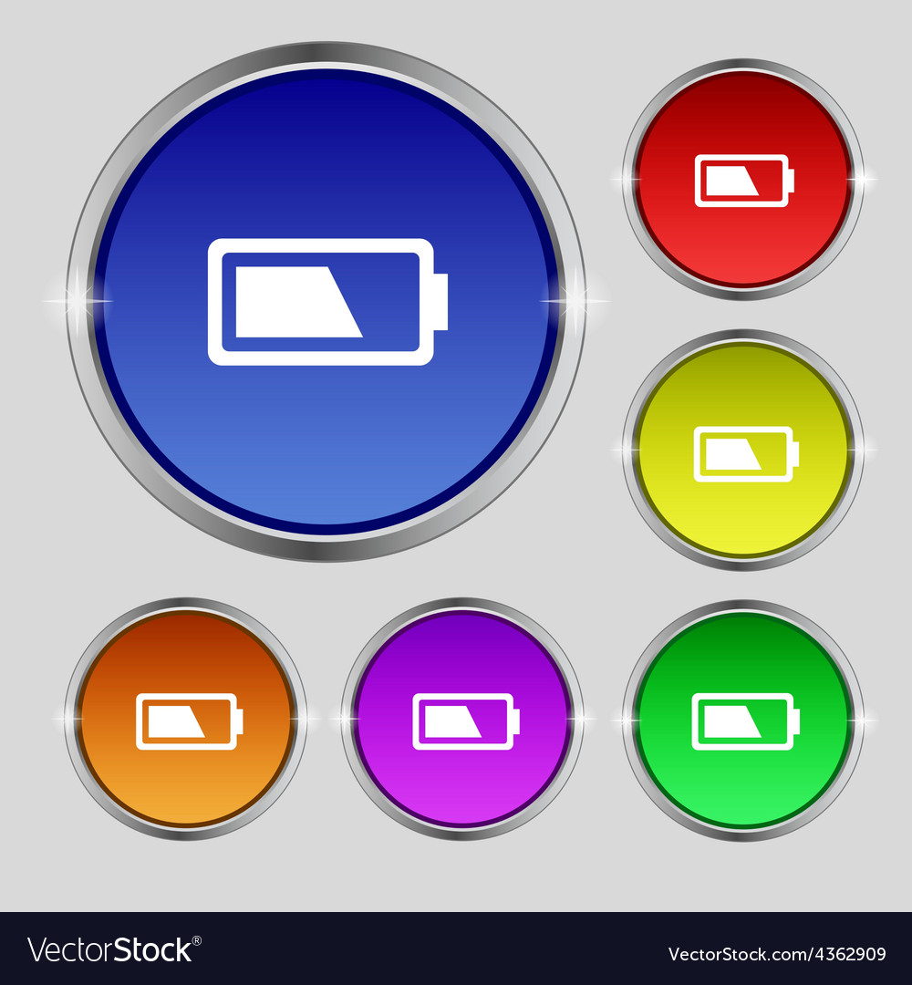Battery half level icon sign round symbol on vector