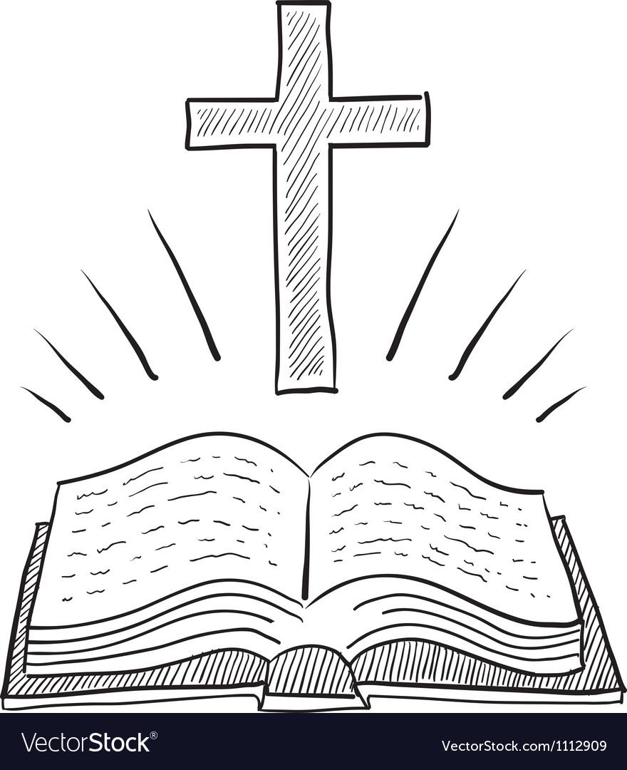 Doodle christian cross bible book vector