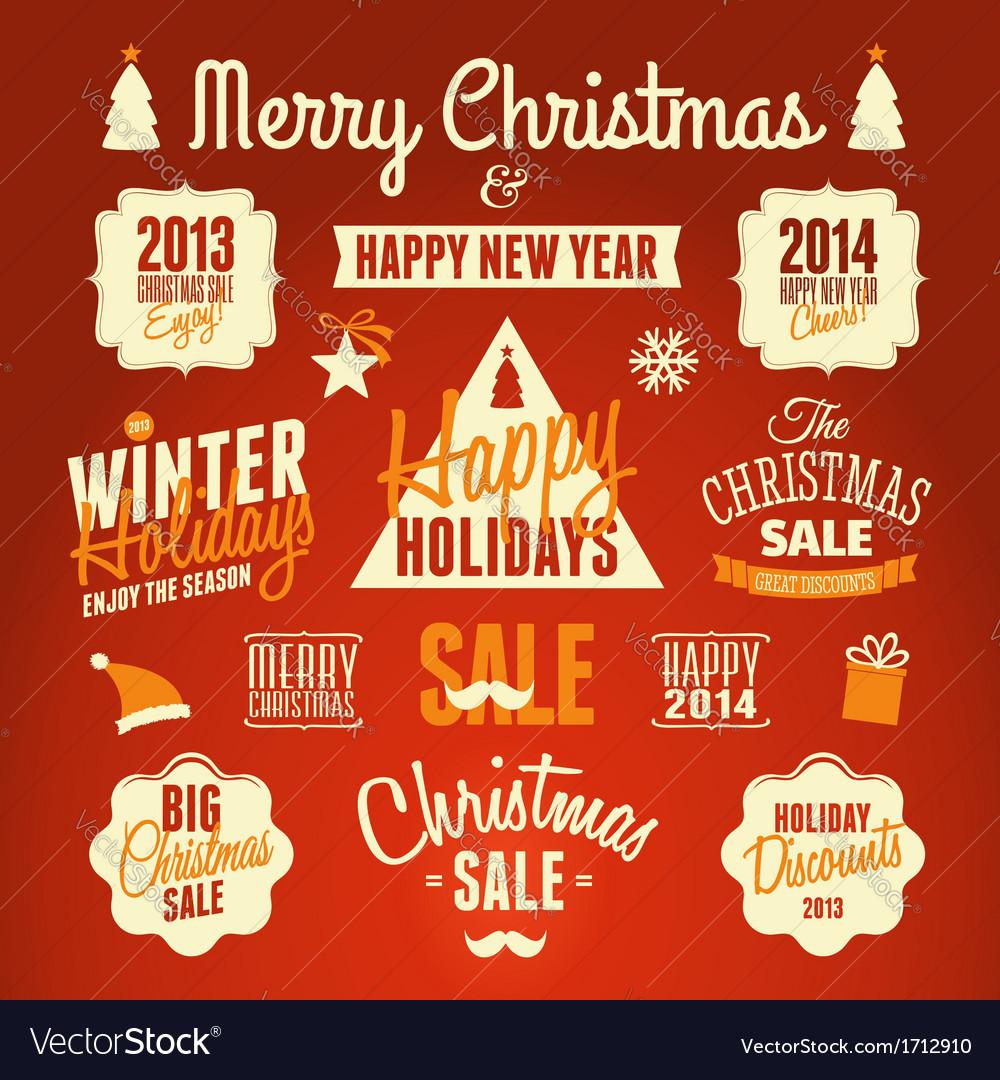 Retro style christmas design elements set vector