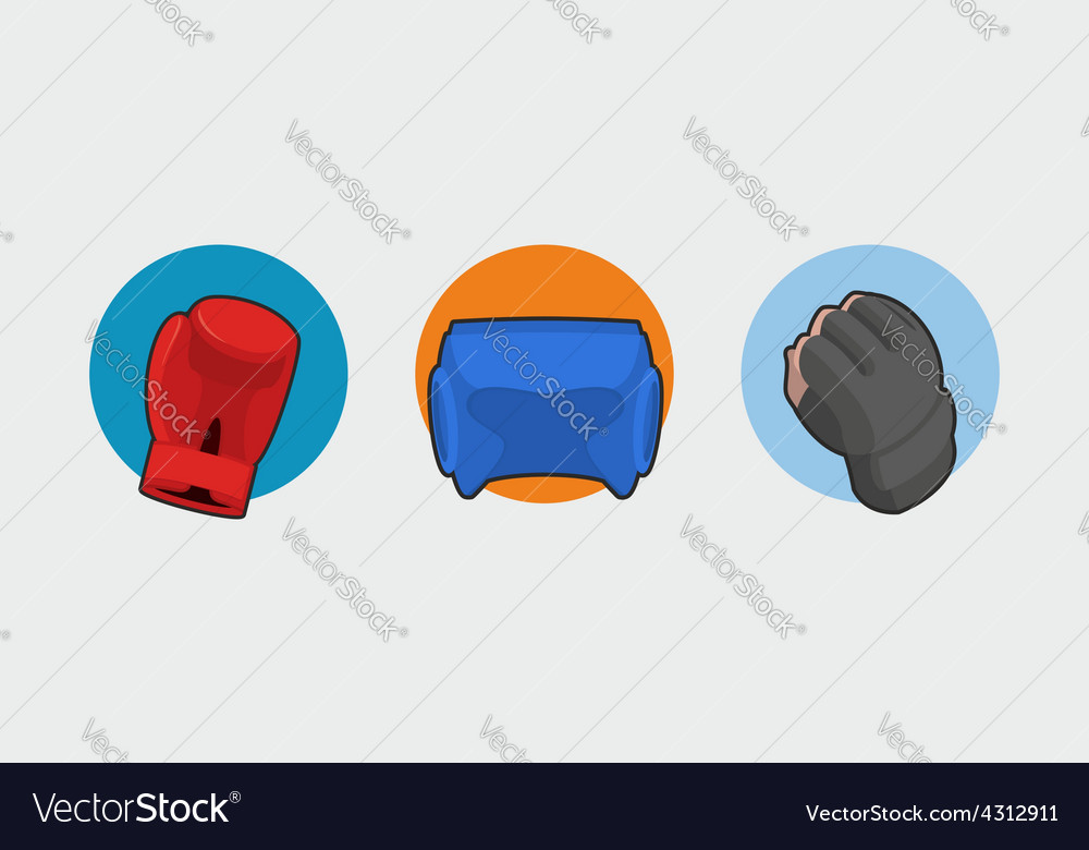 Boxing gloves helmet gloves for the mix fight vector