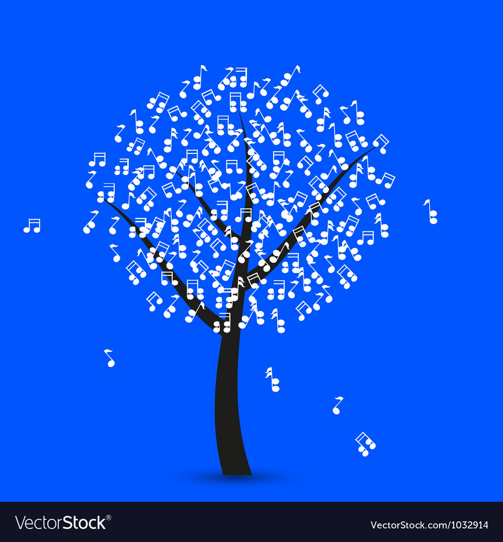 Musical note tree vector