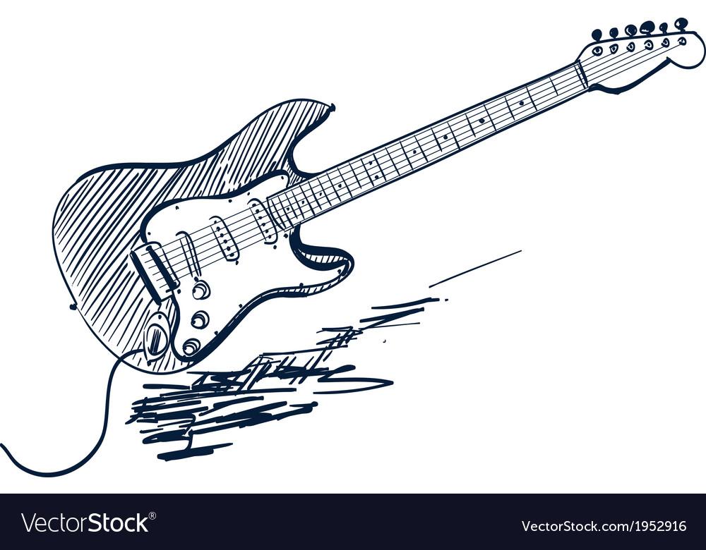 Electric guitar sketch vector