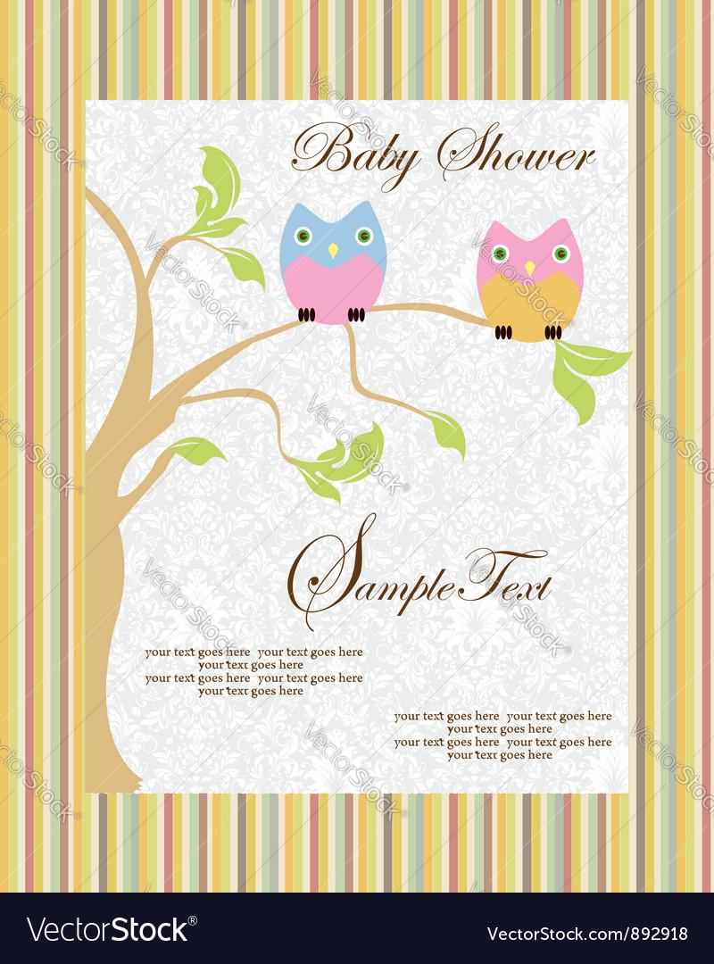 Cute cartoon owls birth vector